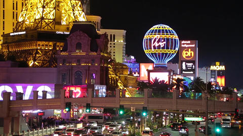 Nightlife on Las Vegas Strip Boulevard Footage