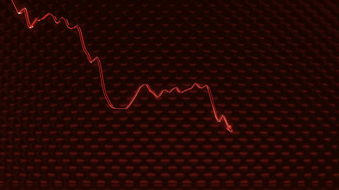 red glass Graph shattered and broken as recession or financial crisis Animation