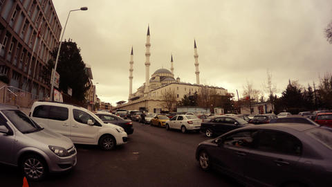 Mosque in centre Ankara cars around cloudy day timelapse Image