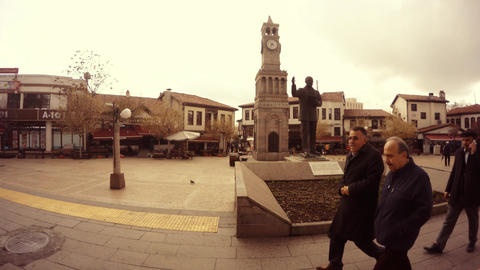 Square with old watch and memorial Ataturk Ankara Cloudy day timelapse Footage
