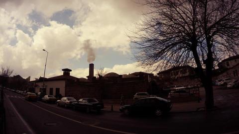 Smokes smoke from the Turkish bath evening Ankara Footage