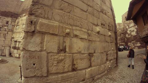 Defensive wall of citadel Hisar with inscription on ancient Greek Old Ankara Live Action