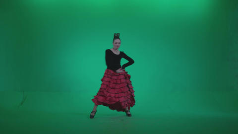 Flamenco Red and Black Dress rb3 - Green Screen Video Footage Footage