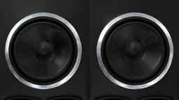 Speakers music vibrating sub cone beats bass club loudspeaker sound boom box 4k Footage