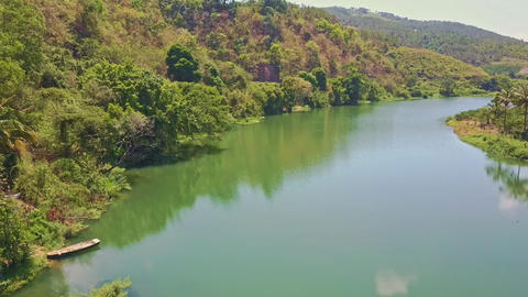 Flycam Moves along Calm Green River against Thick Jungle Footage