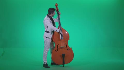 Contrabass Jazz Performer j2 - Green Screen Video Footage Footage