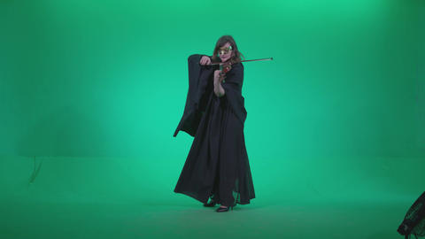Professional Violin player woman z2 - Green Screen Video Footage Footage