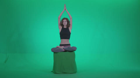 Woman practicing yoga shanti1 - Green Screen Video Footage Footage
