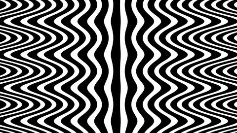 Wave flow digital pattern, rotating optical illusion, black and white animated v CG動画素材