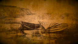 Vintage effect applied to row boats by seaside Filmmaterial
