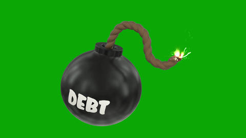Debt bomb cartoon toon fuse burning lit timer sparks sphere ball loop 4k Footage
