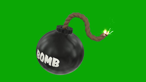 Bomb cartoon toon fuse burning lit timer sparks sphere ball loop 4k Footage