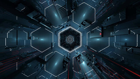4K Ultra HD Hexagonal Tunnel Animation