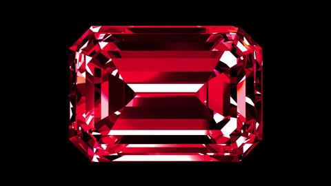 Iridescent Ruby Emerald Cut. Looped. Alpha Matte Animation