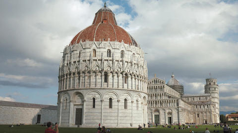 Clouds cast dynamic light on the monuments of Pisa Live Action