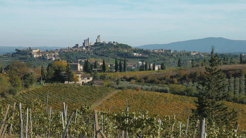 San Gimignano medieval town seen from he Tuscany hills, Italy Footage