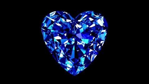 Sapphire Heart Cut. Looped. Alpha Matte