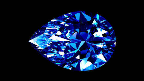 Sapphire Pear Cut. Looped. Alpha Matte Animation