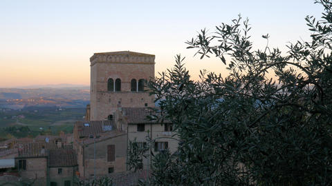 Sunset over San Gimignano, Tuscany, Italy Footage