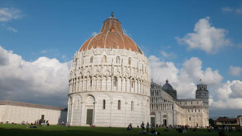 Timelapse of Pisa Piazza dei Miracoli, famous leaning tower, dynamic light Footage