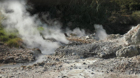 Fumaroles emits steam from the ground Footage
