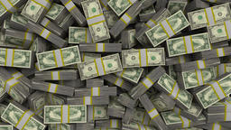 Money stacks bundles transition dollars financial win US USA American currency Footage