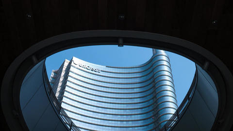 Unicredit Tower skyscraper in Milan seen from below, Hyperlapse Footage
