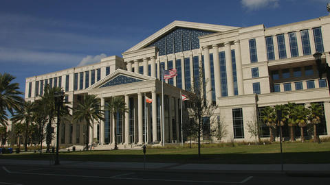 Pan of Duval County Courthouse in Jacksonville, Florida Live Action