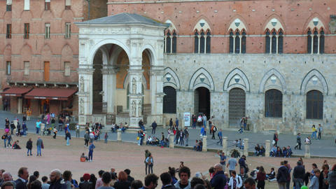 Tourists in Piazza del Campo in Siena, Tuscany, Italy Footage