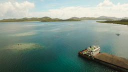 Cargo and passenger transit port in Dapa city aerial view .Siargao island, Phili Footage