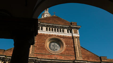 Pavia Cathedral hyperlapse seen from the arcade, Italy Footage