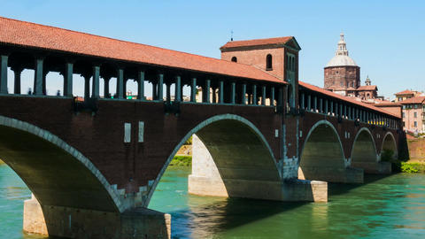Pavia old covered bridge over Ticino River Hyperlapse, Italy Footage