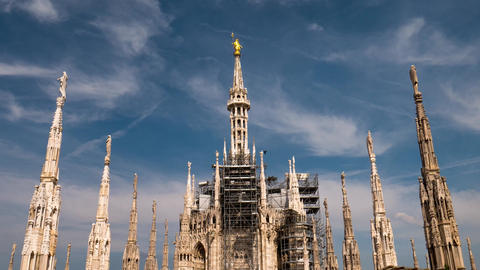 Milan, Italy – May 2016: Duomo cathdedral statue hyperlapse Footage