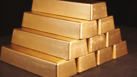 Gold bars. Pyramid from bullions Footage