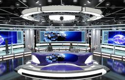 Virtual TV Studio News Set 1 3D Model