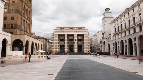 Piazza della Vittoria square in Brescia, Italy timelapse Footage