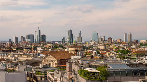Milan, Italy: Business district skyline at sunset timelapse Footage