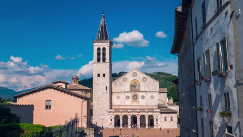Spoleto cathedral timelapse with moving clouds, Umbria, Italy Footage