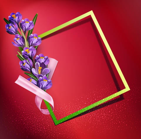 greeting card with blue crocuses , frame, pink ribbon and フォト