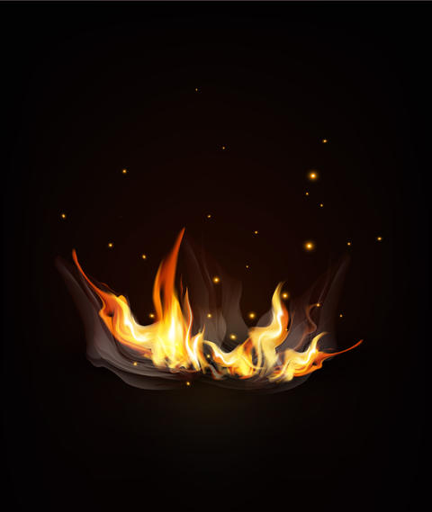 burning fire on a dark (night) background フォト