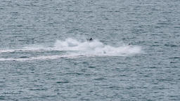 Two fast jetski against sunshine Footage