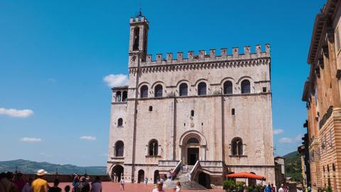 Gubbio Palazzo dei Consoli Palace timelapse, Umbria, Italy Footage