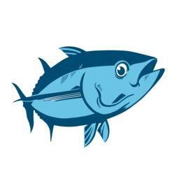 Tuna fish symbol on white background,Vector. Sport fishing club, restaurant, can ベクター