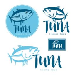 Seafood tuna products tags and emblems. Vector icons for product, company, resta Vector