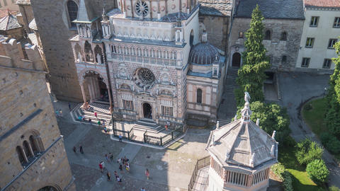 Aerial view of Cappella Colleoni in Bergamo, Italy, Timelapse Footage