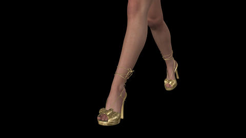 Lady in Golden Bikini - Gloria - Close Legs - Walk Loop - Alpha Channel CG動画素材