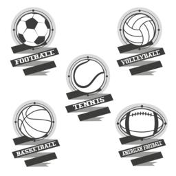 Sports balls logos. Football, volleyball, basketball, american f Vector