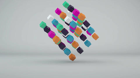 Abstract background with colorful cubes. Seamless loop Animation