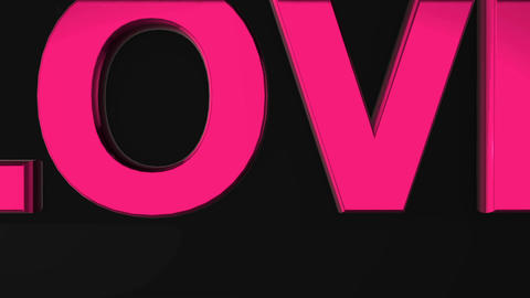 Three-dimensional word love on a dark background. Motion graphics Animation
