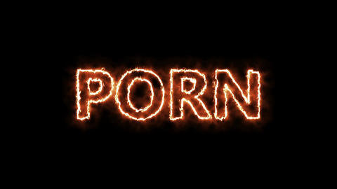 Porn tag hot burning text on black background. Seamless loop Animation